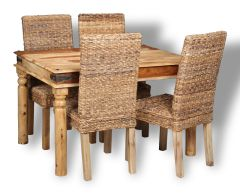 Small Jali Light Dining Table & 4 Rattan Chairs