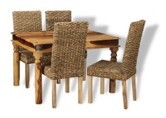 Small Jali Light Dining Table & 4 Rattan Dining Chairs