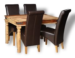 Jali Light 120cm Dining Table & 4 Rollback Chairs