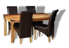 Jali Light 160cm Dining Table & 4 Rollback Chairs