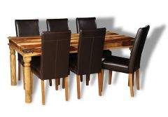 Large Jali Light Dining Table & 6 Barcelona Chairs