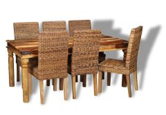 Jali Light 180cm Dining Table & 6 Rattan Dining Chairs