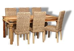 Jali Light 180cm Dining Table & 6 Rattan Chairs