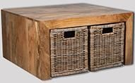 Light Dakota Coffee Table with 4 Rattan Baskets