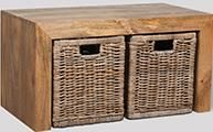 Light Dakota Coffee Table with 2 Rattan Baskets