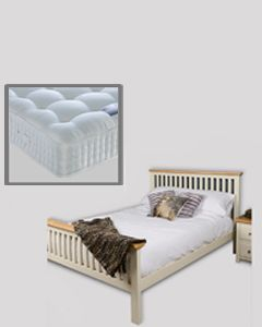 Lyon White Painted Oak King Size Bed with Mattress