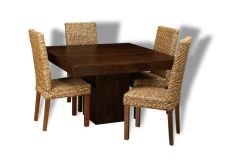Mango 120cm Dining Table & 4 Rattan Chairs