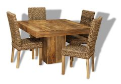 Mango 120cm Cube Dining Table & 4 Rattan Chairs
