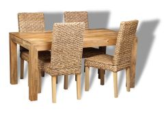 Mango 160cm Dining Table & 4 Rattan Chairs
