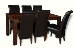 Mango 160cm Dining Table & 6 Rollback Chairs