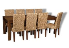 Mango 220cm Dining Table & 8 Rattan Chairs