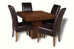 Mango 90cm Cube Dining Table & 4 Madrid Chairs