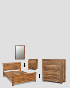Small Super King Size Natural Cube Bedroom Package