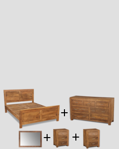 Large Super King Size Natural Cube Bedroom Package