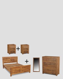 Medium King Size Natural Cube Bedroom Package