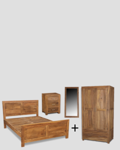 Extra Large Super King Size Cube Natural Bedroom Package