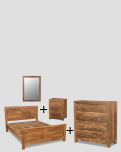 Small Super King Size Natural Cuba Bedroom Package