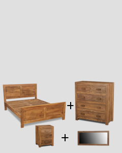 Double Cuba Natural Bedroom Package