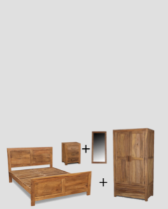Extra Large King Size Cuba Natural Bedroom Package