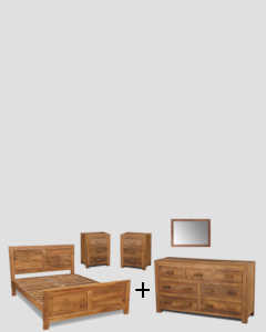 Large Double Cuba Natural Bedroom Package