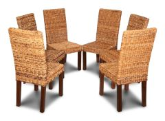 Set of 6 Dark Leg Havana Rattan Dining Chairs