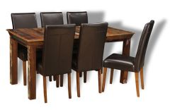 Reclaimed Indian Medium Table & 6 Barcelona Chairs