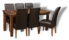 Reclaimed Indian Dining Table & 6 Madrid Chairs