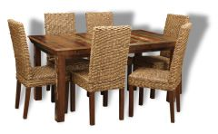 Reclaimed Indian Dining Table & 6 Rattan Chairs