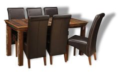 Reclaimed Indian Dining Table & 6 Rollback Chairs