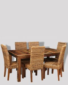 Reclaimed Indian Dining Table & 6 Havana Chairs