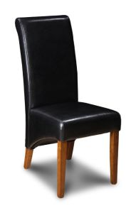 Black Leather Rollback Dining Chair
