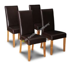 Set of 4 Brown Barcelona Leather Dining Chairs