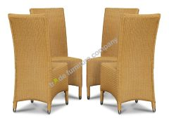 Lloyd Loom Natural Madera Dining Chairs x4
