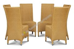 Lloyd Loom Natural Madera Dining Chairs x6