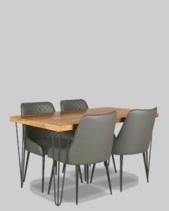 140cm Vintage Dining Table and 4 Faux Leather Henley Chairs