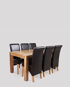Dakota Light 180cm Dining Table & 6 Rollback Chairs