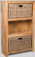 Light Dakota Medium Bookcase with Rattan Wicker Baskets