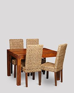 Small Cuba Dining Table and 4 Rattan Dining Chairs