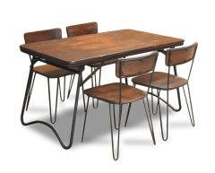 Vintage Folding Table & 4 Vintage Chairs