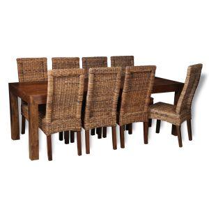Dakota 220cm Dining Table & 8 Rattan Chairs (3 Styles)