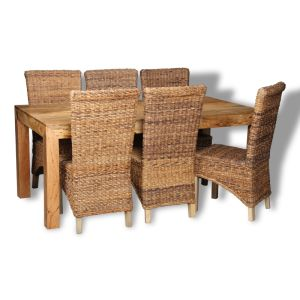 Dakota Light 180cm Dining Table & 6 Rattan Chairs