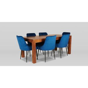 180cm Dakota Dining Table With 6 Henley Velvet Dining Chairs