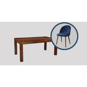 Dakota 180cm Dining Table & 6 Zena Velvet Chair (Navy Blue)