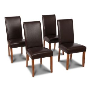 Set of 4 Brown Leather Barcelona Dining Chairs