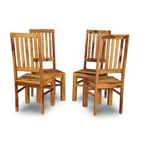 Set of 4 Jali Light Slatted Dining Chairs