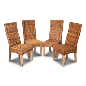 Set of 4 Light Leg Salsa Rattan Dining Chairs