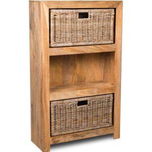 Light Dakota Medium Bookcase with Rattan Wicker Baskets