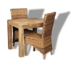 Light Dakota 80cm Dining Table & 2 Rattan Chairs