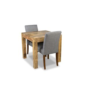 Light Dakota 80cm Dining Table & 2 Milan Fabric Chair