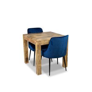 Light Dakota 80cm Dining Table & 2 Henley Velvet Chairs